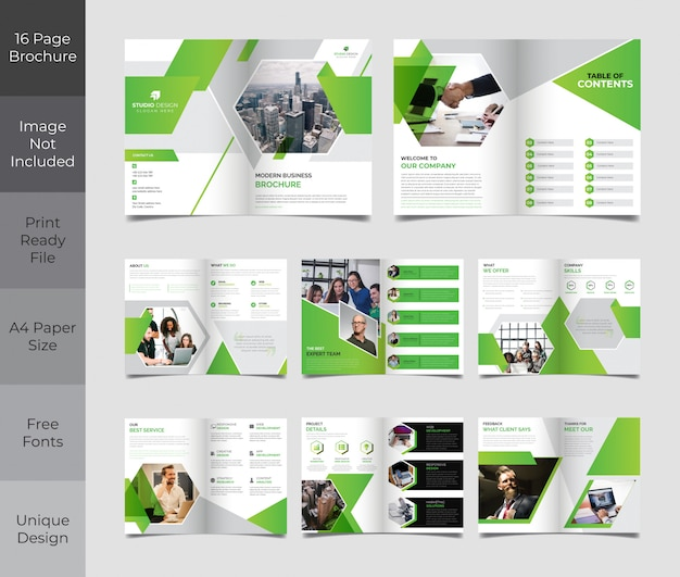 Corporate business 16 page brochure template