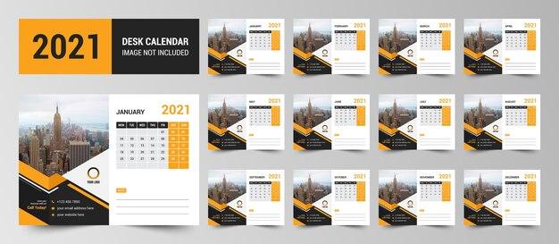 Corporate business 2021 desk calendar template premium