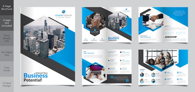 Корпоративный бизнес 8-страничный шаблон брошюры