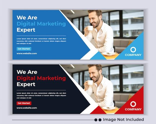 企業のビジネス代理店のwebバナーソーシャルメディアfacebookカバーテンプレート。