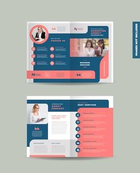 기업 비즈니스 bi-fold 브로셔 디자인