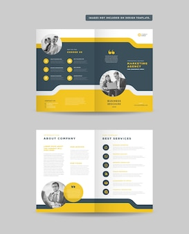 Corporate business bifold brochure or company profile