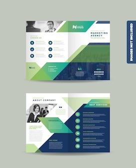 企業のビジネスの二つ折りパンフレットのデザインと企業のマーケティングテンプレート