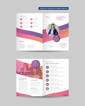 Corporate business bifold brochure design and double sided brochure