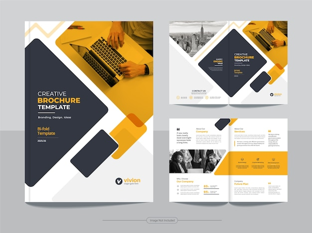 Corporate business bifold brochure template with orange color abstract design