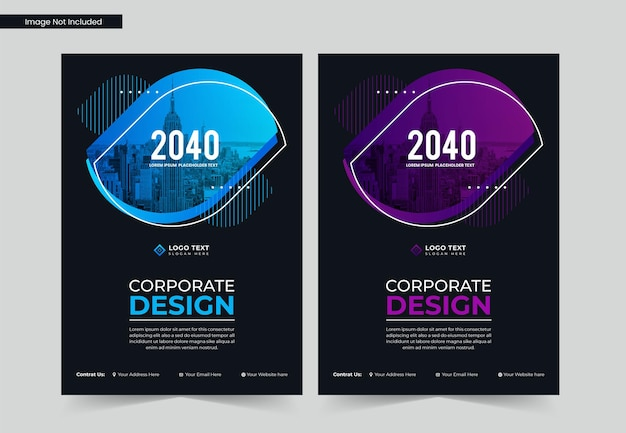 Corporate business book cover design or annual report template