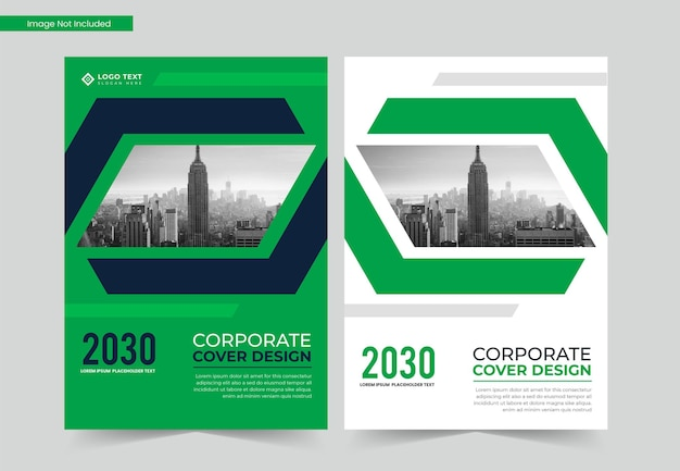 Corporate business book cover design or green annual report template