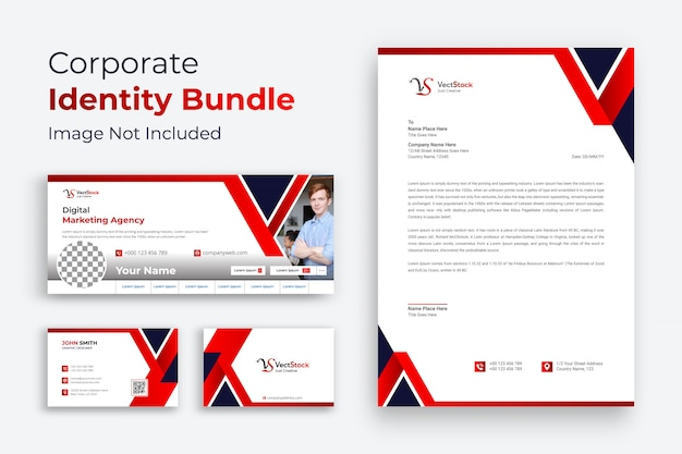 Corporate business brand identity design vector stationery