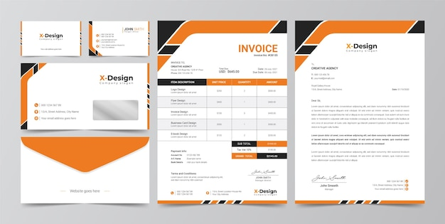 Corporate business branding identity, letterhead, business card, invoice, envelope design