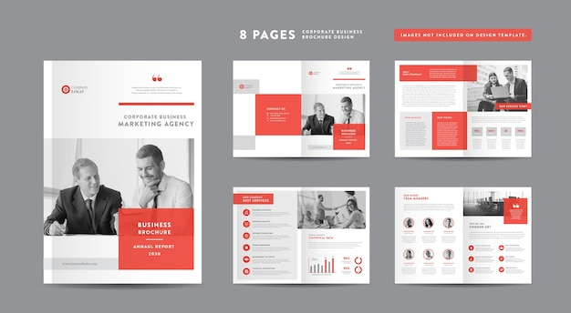 企業パンフレット、年次報告書、会社概要ブックレット、カタログデザインテンプレート