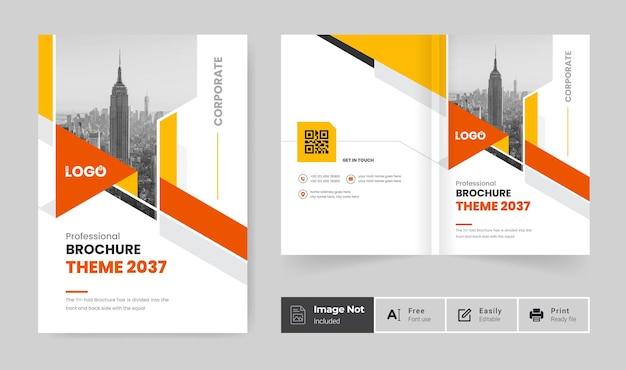 Corporate business brochure cover design template or bi fold company profile annual report theme