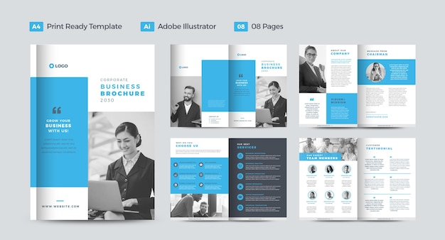 企業のビジネスパンフレットのデザインまたは年次報告書と会社概要のデザインまたは小冊子とカタログのデザイン