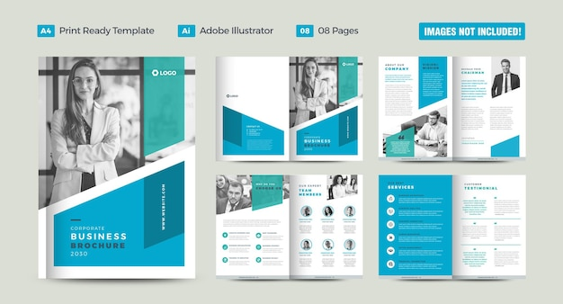 企業のビジネスパンフレットのデザインまたは年次報告書と会社概要または小冊子とカタログ