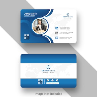 Corporate business card cyan and blue gradient style