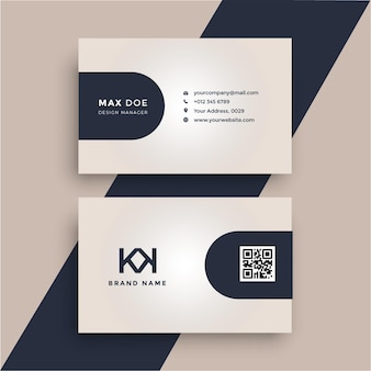 Дизайн корпоративной визитки с темно-синим с градиентным розовым
