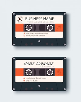 Corporate business card. personal name card design template. vintage music tape image.