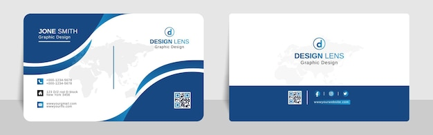 Corporate business card template cyan and blue gradient style