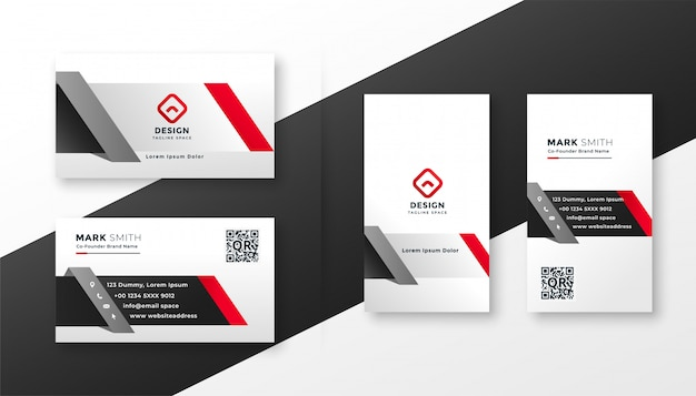 Corporate business card template in red ang gray colors