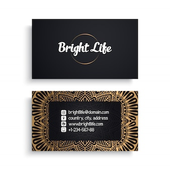 Corporate business card template with ethnic luxury design, boho style