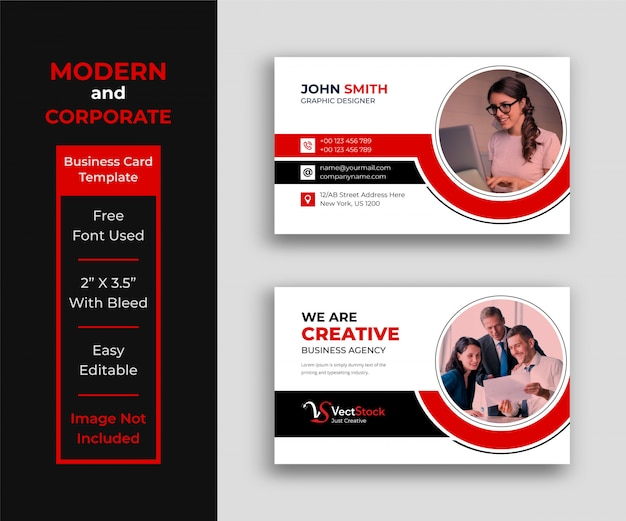 Corporate business card template with photo