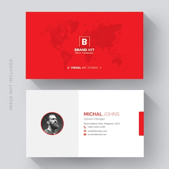 Corporate business card template with red details