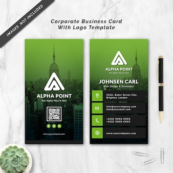 Corporate business card with logo template
