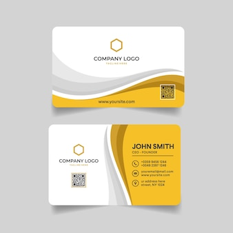 기업 명함 노란색과 흰색 템플릿