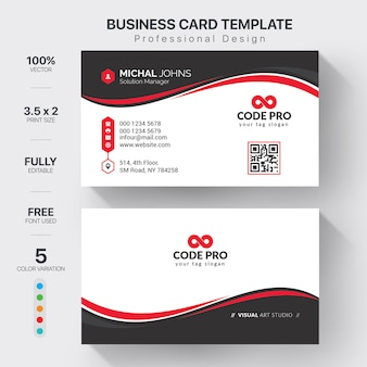 Corporate business cards template with color variation