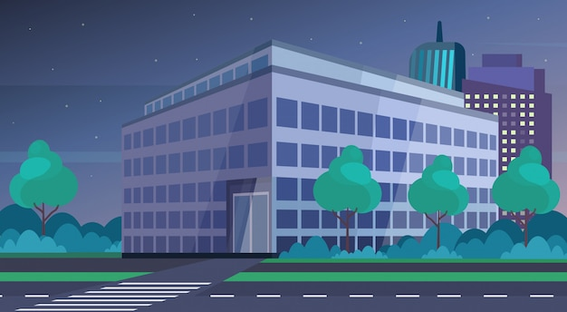 Corporate business center modern office building night view cityscape background flat horizontal