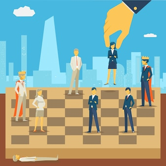 Corporate business chess illustration