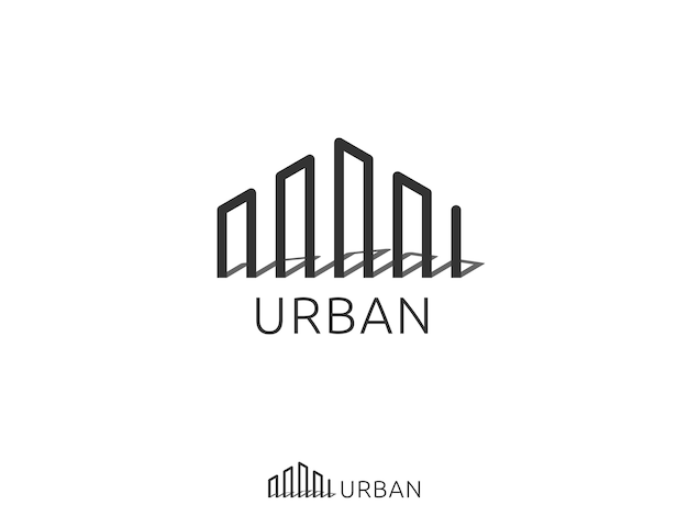 Corporate business or city skyline real estate logo icon.