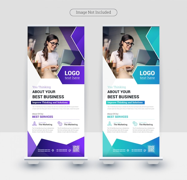 Corporate business colorful abstract  rollup banner