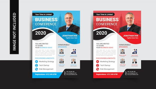 Corporate business conference flyer template set