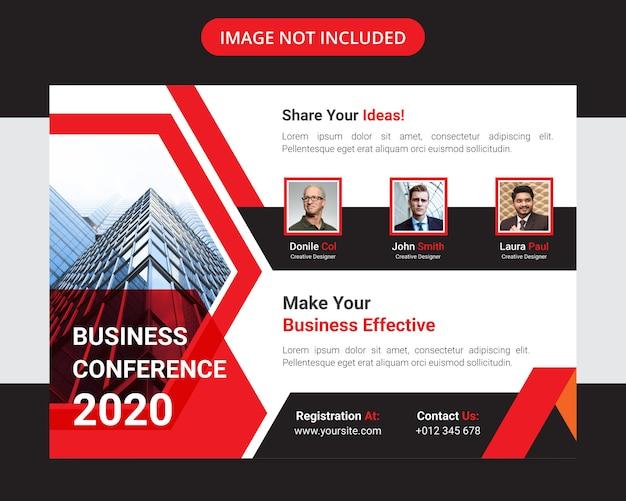 Корпоративный бизнес-конференция горизонтальный флаер дизайн шаблона