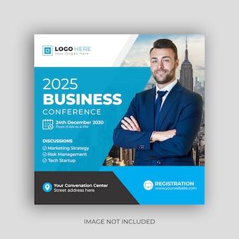 Корпоративная бизнес-конференция в социальных сетях и шаблон дизайна веб-баннера