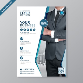 Corporate business cover a4 and flat icons flyer design template