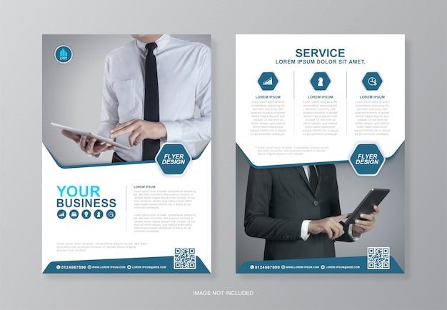 기업 비즈니스 표지 및 뒷면 전단지 디자인 서식 파일 프리미엄 벡터