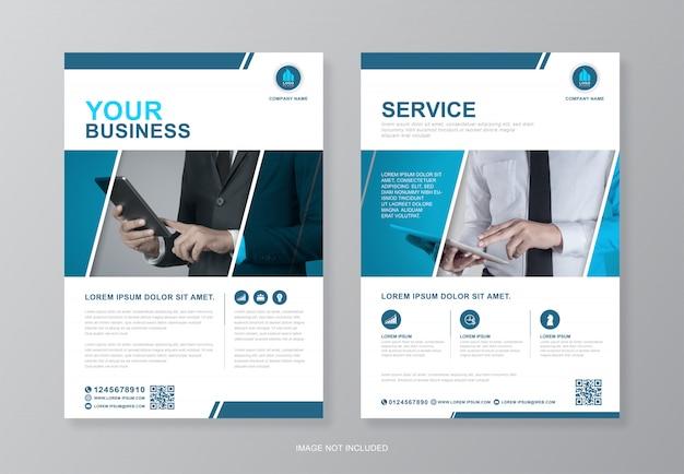 인쇄를위한 기업 비즈니스 표지 및 뒷면 a4 전단지 디자인 서식 파일