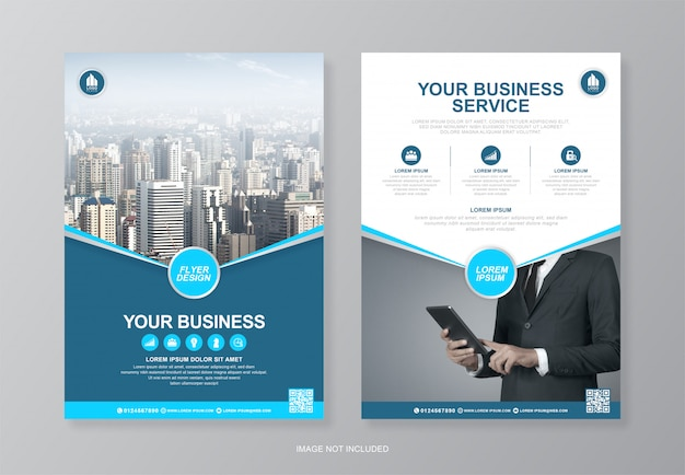 Обложка корпоративного бизнеса и задняя страница a4 флаер шаблон оформления