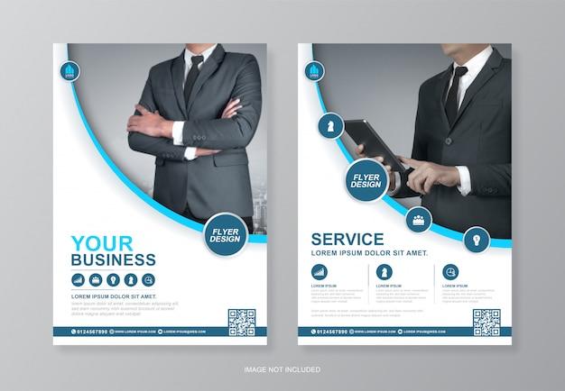 企業の表紙と裏ページa4チラシデザインテンプレート