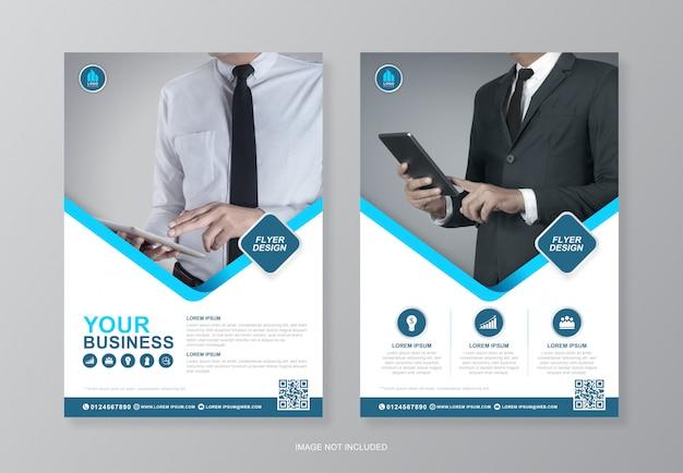企業の表紙と裏ページa4チラシデザイナーテンプレート