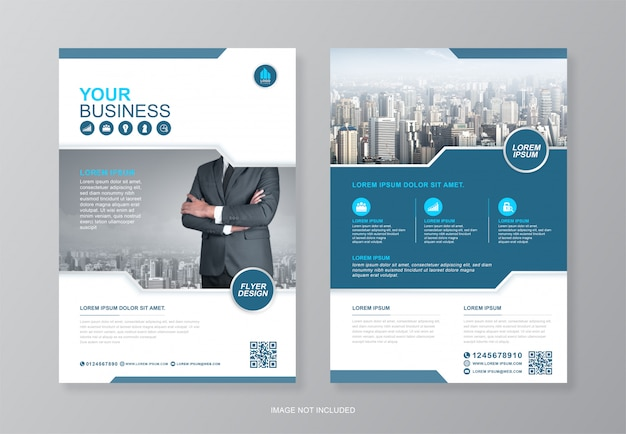 Обложка корпоративного бизнеса, шаблон дизайна флаера на задней странице a4 и плоские иконки