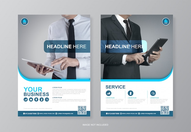 Corporate business cover and back page a4 flyer designer template