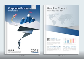 Corporate business cover book design template with infographic element