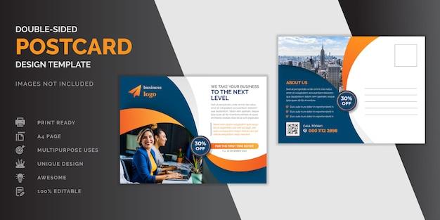 Corporate business dark blue and orange postcard