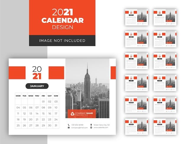 Corporate business desk calendar design template for year