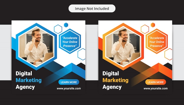 Корпоративный бизнес агентство цифрового маркетинга социальные медиа пост Premium векторы