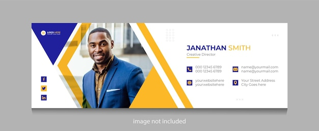 Corporate business email signature or personal facebook cover page template premium vector