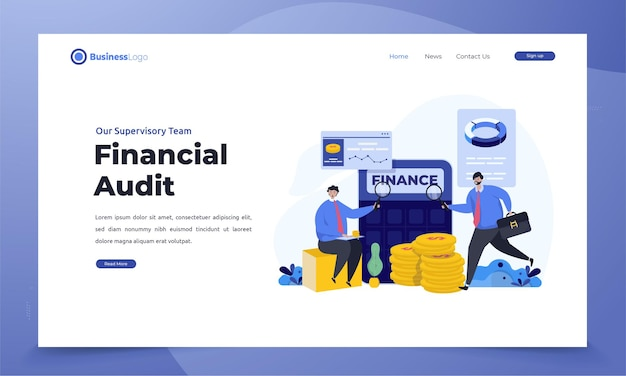 Corporate business financial audit on landing page