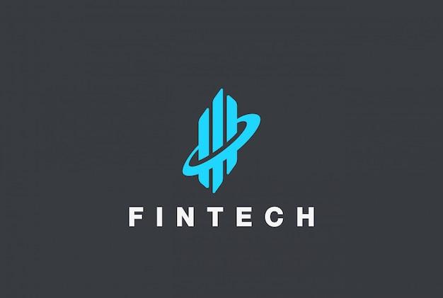 Modello di progettazione dell'estratto di logo di fintech di affari corporativi. diagramma dei grafici del bene immobile concetto del logotype